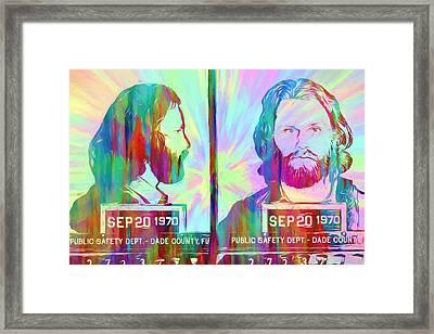 Jim Morrison Tie Dye Mug Shot Framed Print by Dan Sproul