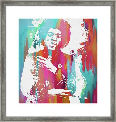 Jimi Color Spatter Framed Print by Dan Sproul