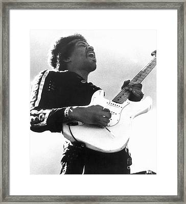 Framed Print featuring the photograph Jimi Hendrix (1942-1970) by Granger