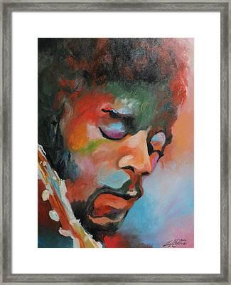 Jimi Hendrix At Monterrey Framed Print