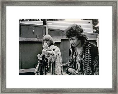 Jimi Hendrix  Brian Jones Monterey Black  White  Framed Print by Kenneth Summers