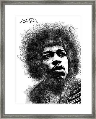 Jimi Hendrix Bw Scribbles Portrait Framed Print