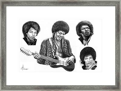 Jimi Hendrix Collage Framed Print by Murphy Elliott