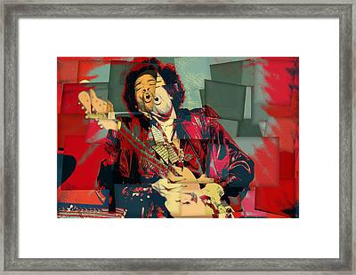 Jimi Hendrix Cubism Framed Print