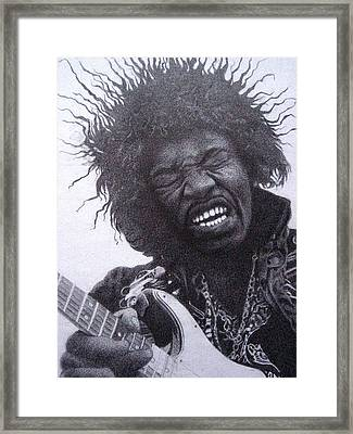 Jimi Hendrix Drawing Framed Print by Lana Cheng