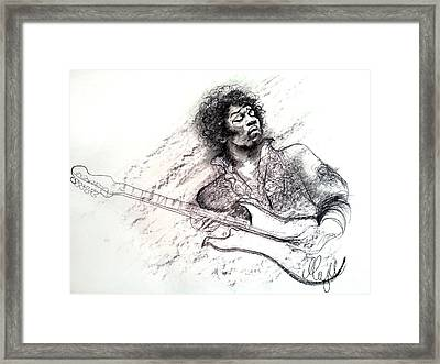 Jimi Hendrix Drawing Framed Print