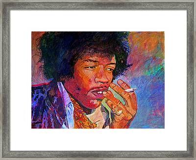 Jimi Hendrix Dreaming Framed Print by David Lloyd Glover