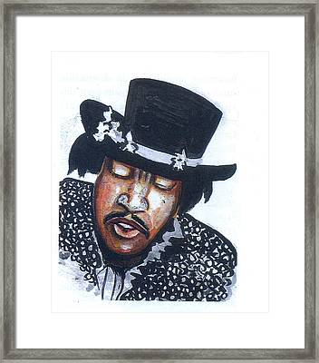 Framed Print featuring the painting Jimi Hendrix by Emmanuel Baliyanga