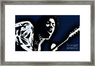 Jimi Hendrix - Graphic Art Blue Framed Print