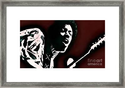 Jimi Hendrix - Graphic Art Red Framed Print by Ian Gledhill