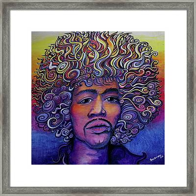 Jimi Hendrix Groove Framed Print by David Sockrider