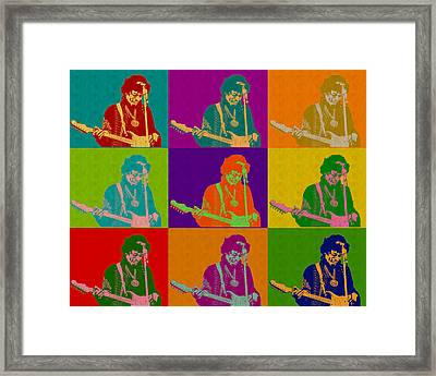 Jimi Hendrix In The Style Of Andy Warhol Framed Print