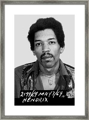 Jimi Hendrix Mug Shot Vertical Framed Print by Tony Rubino
