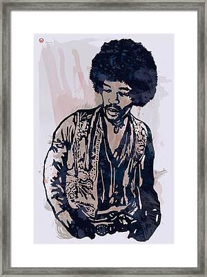 Jimi Hendrix Pop Stylised Art Sketch Poster Framed Print by Kim Wang