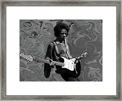 Framed Print featuring the photograph Jimi Hendrix Purple Haze B W by David Dehner