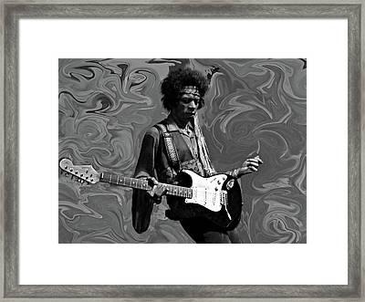 Jimi Hendrix Purple Haze B W Framed Print by David Dehner
