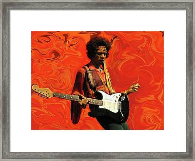 Framed Print featuring the photograph Jimi Hendrix Purple Haze Orange by David Dehner