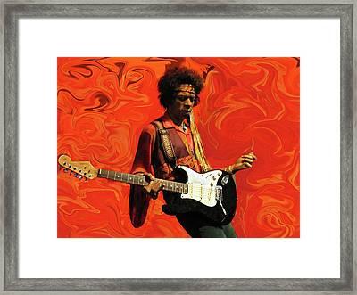 Jimi Hendrix Purple Haze Orange Framed Print by David Dehner