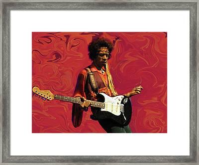 Jimi Hendrix Purple Haze Red Framed Print by David Dehner