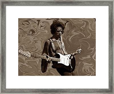 Jimi Hendrix Purple Haze Sepia Framed Print by David Dehner