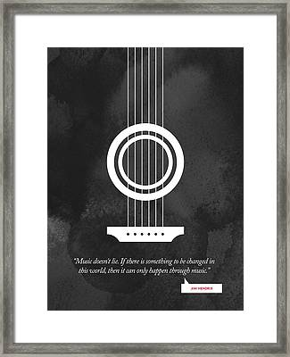 Jimi Hendrix Quote - Music Doesnt Lie .... Framed Print