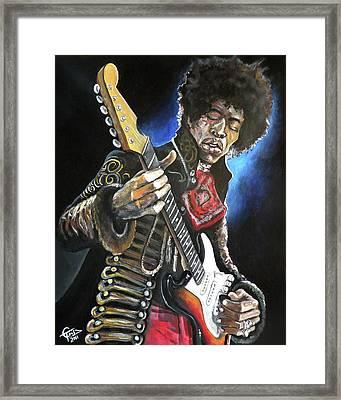 Jimi Hendrix Framed Print by Tom Carlton