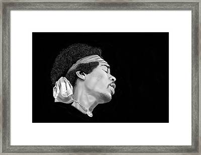 Jimi Hendrix Woodstock Framed Print by Brian Broadway