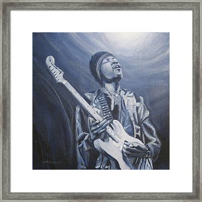 Jimi In The Bluelight Framed Print by Michael Morgan