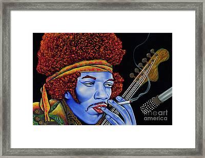 Jimi In Thought Framed Print by Nannette Harris