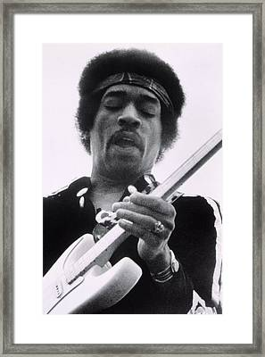 Jimi Plays Berkeley, Jimi Hendrix, 1971 Framed Print by Everett