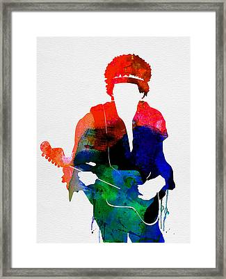 Jimi Watercolor Framed Print by Naxart Studio