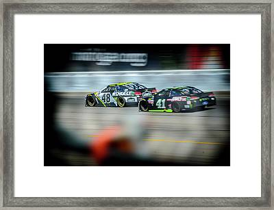 Jimmie Johnson Charging Ahead At Mis Framed Print