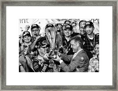 Jimmie Johnson Wins Framed Print by Kevin Cable