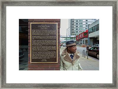 Jimmy And The Plaque Framed Print by Ken Blystone