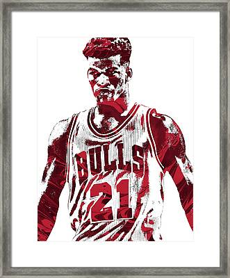Jimmy Butler Chicago Bulls Pixel Art 2 Framed Print