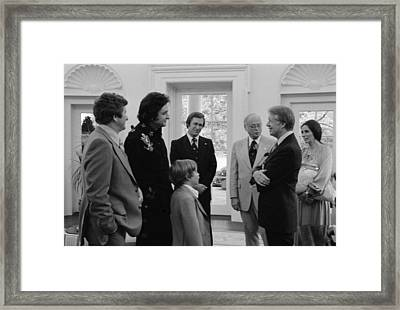 Jimmy Carter With Johnny Cash Framed Print
