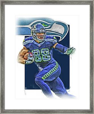 Jimmy Graham Seattle Seahawks Oil Art Framed Print by Joe Hamilton