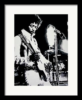 Complex Guitar Playing Framed Prints