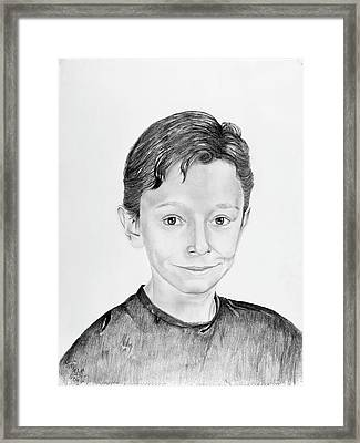 Framed Print featuring the drawing Jimmy by Mayhem Mediums