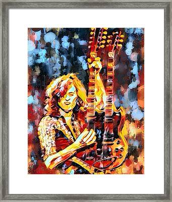 Jimmy Page Abstract  Framed Print by Scott Wallace