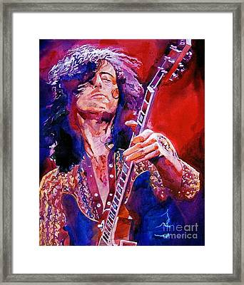 Jimmy Page Framed Print by David Lloyd Glover