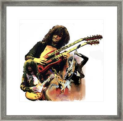 Framed Print featuring the painting Jimmy Page  Echoes Of Pompeii by Iconic Images Art Gallery David Pucciarelli