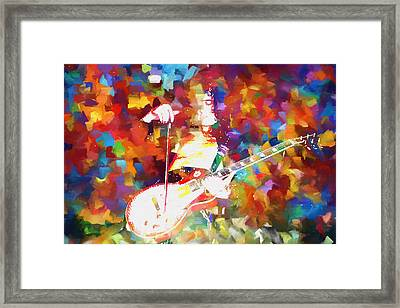 Jimmy Page Jamming Framed Print by Dan Sproul
