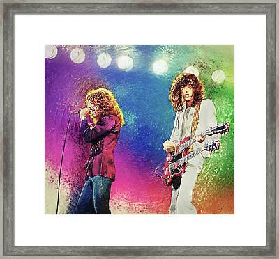 Framed Print featuring the digital art Jimmy Page - Robert Plant by Taylan Apukovska