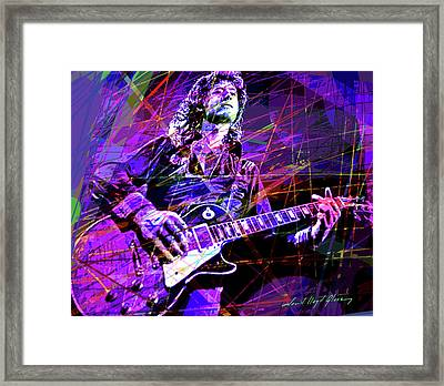 Jimmy Page Solos Framed Print by David Lloyd Glover