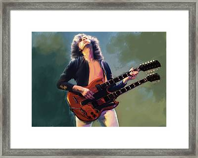 Framed Print featuring the painting Jimmy Page  Stairway  by Iconic Images Art Gallery David Pucciarelli