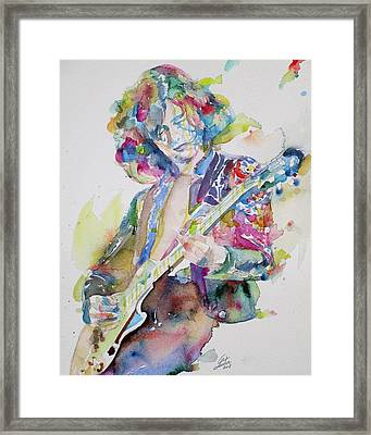 Jimmy Page - Watercolor Portrait.2 Framed Print