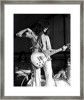 Jimmy Page With Bow 1969 Framed Print by Chris Walter