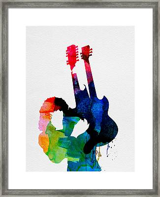 Jimmy Watercolor Framed Print by Naxart Studio