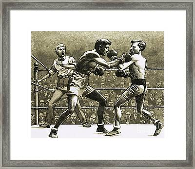 Jimmy Wilde Boxing Pancho Villa In New York Framed Print by Pat Nicolle